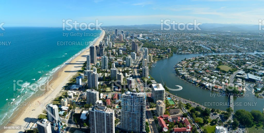 View over Surfers Paradise and Nerang river in Queensland, Australia stock photo