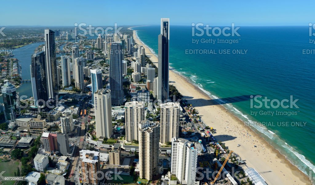 View over Surfers Paradise in Queensland, Australia stock photo