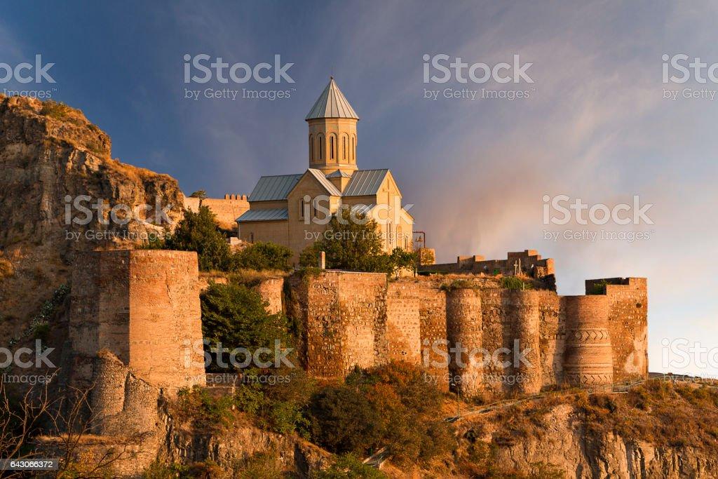 View over the ancient Narikala Castle, Tbilisi, Georgia stock photo