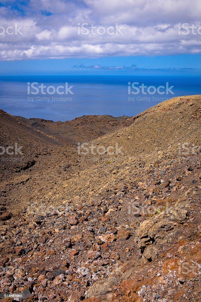 View over the Atlantic Ocean from Teneguia Volcano stock photo