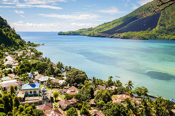 View over the Banda Islands and volcano in the background stock photo