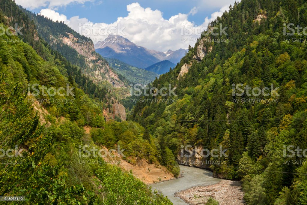 View over the Caucasus Mountains in Georgia. stock photo