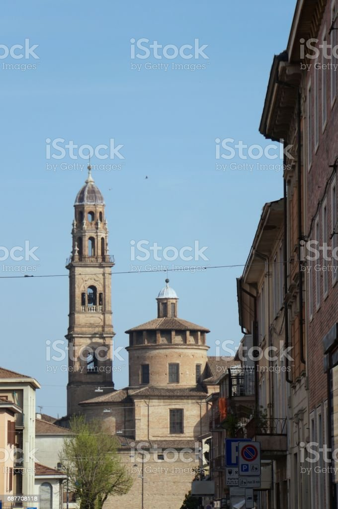 View over the church of San Michele in Fidenza stock photo