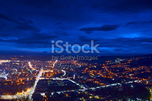 istock A view over the city Deva at night 1279639477