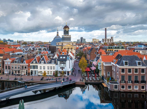 View over the city Leiden with the Mare church in the center stock photo