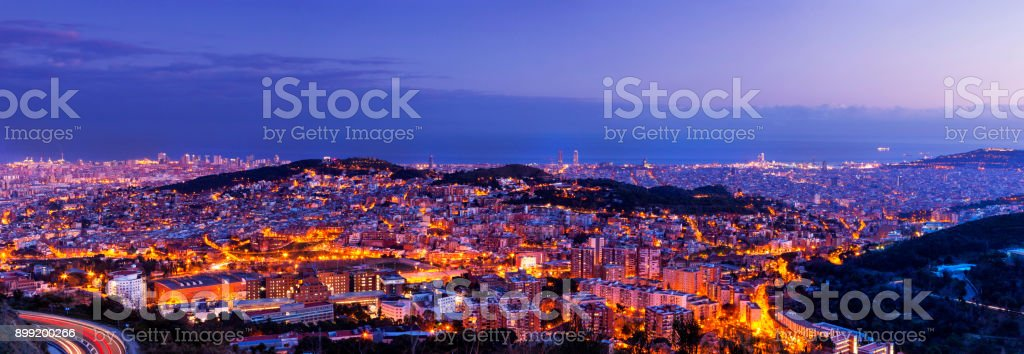 View over the city of Barcelona stock photo