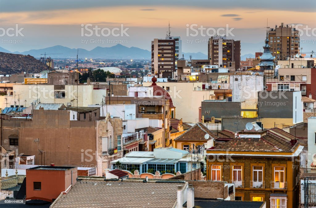 View over the city of Cartagena, Spain stock photo