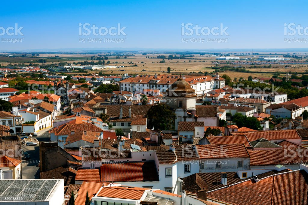 View over the city of Evora in Portugal stock photo