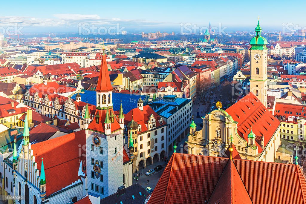 A view over the city of Munich in Germany stock photo