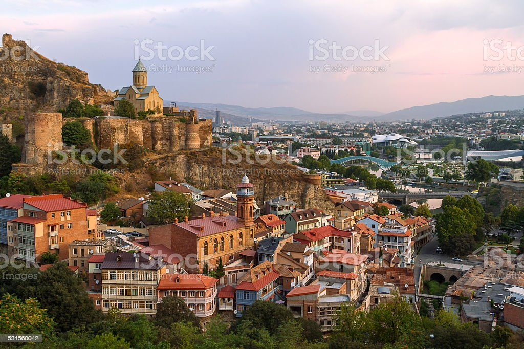 View over the city of Tbilisi, Georgia stock photo