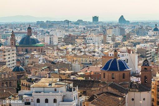 View over the city of Valencia on the Iglesia de la Compania de Jesus and the Real Parroquia de los Santos Juanes, Valencia, Spain