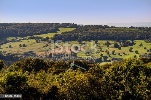 view over the cotswold hills from broadway tower country park worcestershire england uk