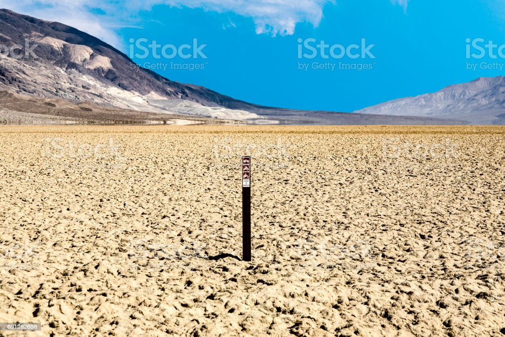 view over the dried salt see of  Searles Lake to the panamid mountains stock photo