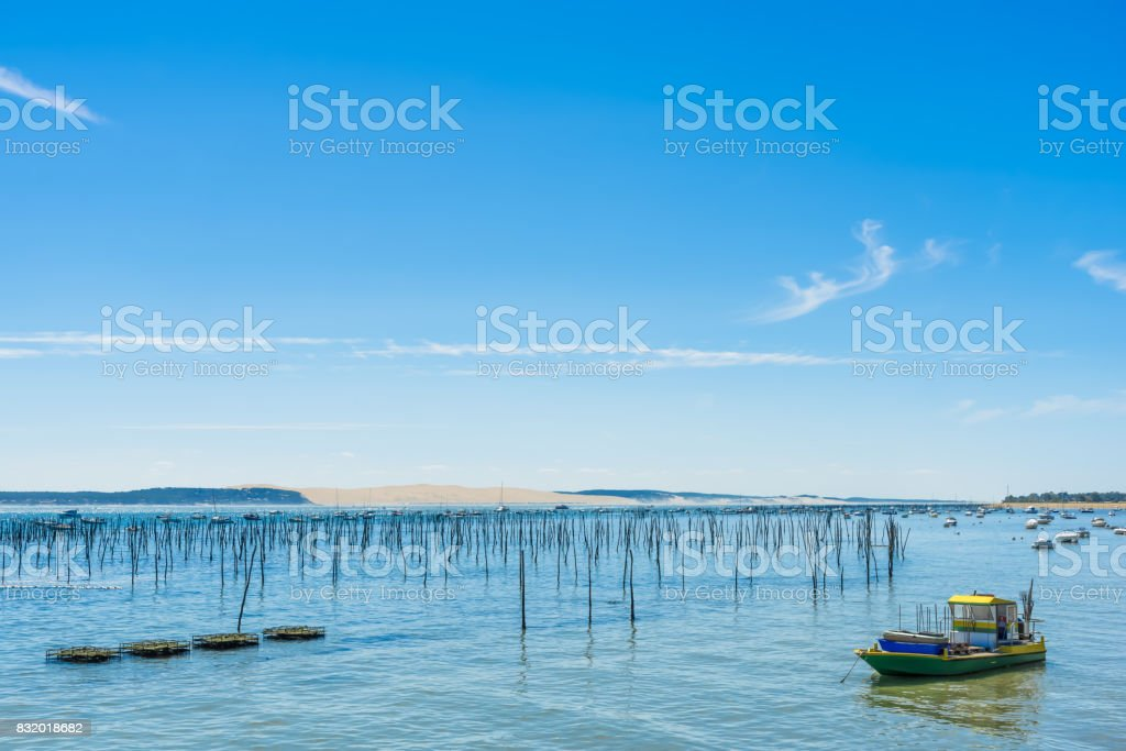 CAP FERRET (Arcachon Bay, France), view over the dune of Pyla stock photo