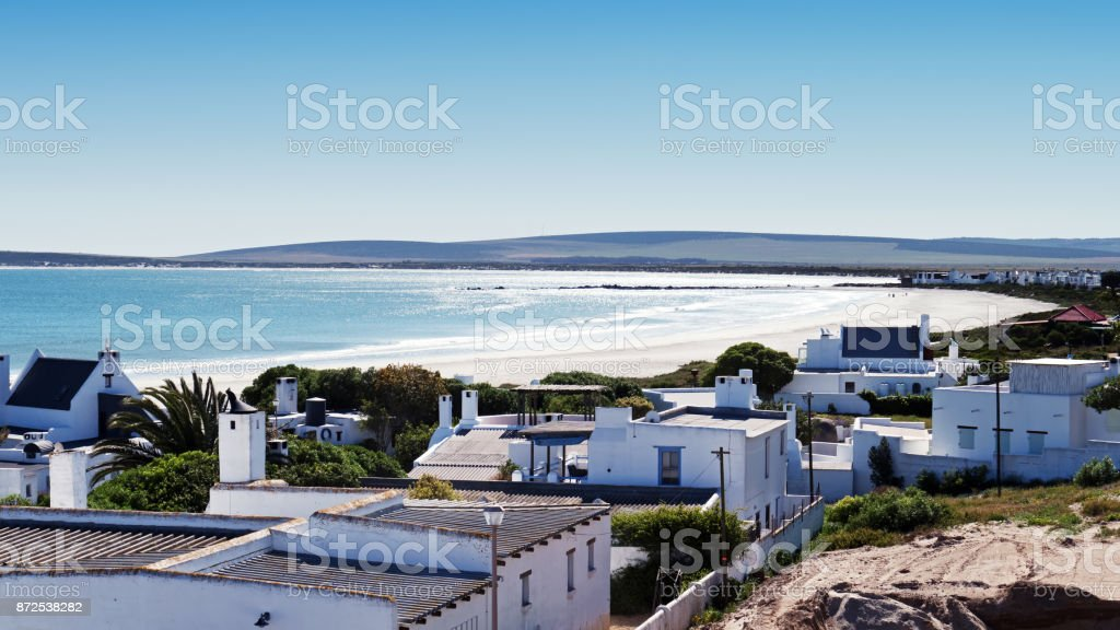 View over the fishing village of Paternoster in South Africa stock photo