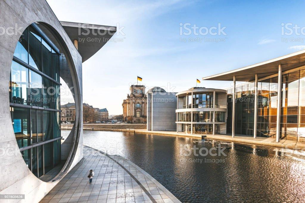 Blick auf das Regierungsviertel in Berlin - Lizenzfrei Architektur Stock-Foto