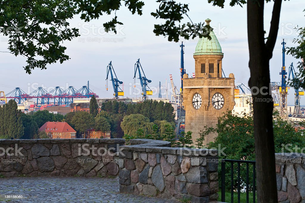 View over the Hamburg harbour. royalty-free stock photo