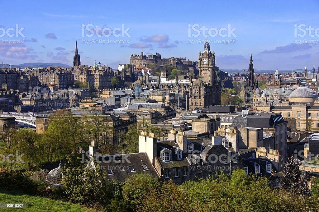 View over the historic center of Edinburgh, Scotland stock photo