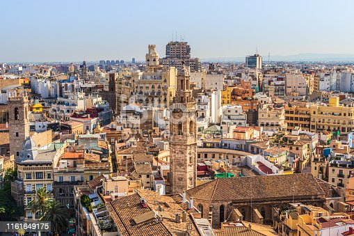 View over the historic old town of Valencia, Spain, in the middle Church of Santa Catalina and Plaza Redonda