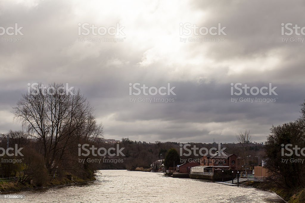 View over the Lagan River from Stranmillis, Belfast. stock photo