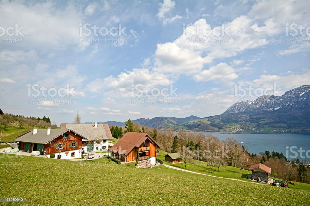 View over the lake Attersee, Salzburger Land - Alps Austria stock photo