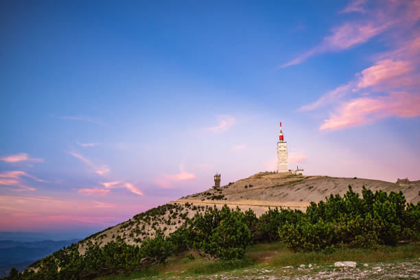 View over the Mont Ventoux during sunset in France stock photo
