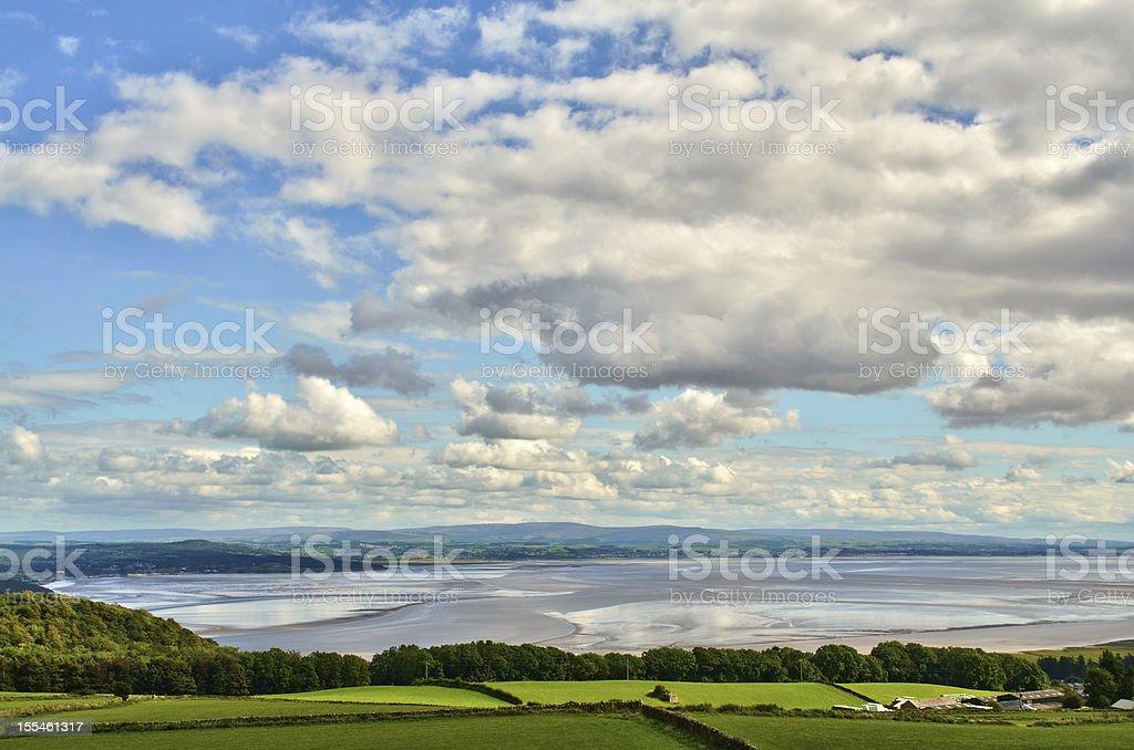 View over the Morecambe Bay estuary stock photo