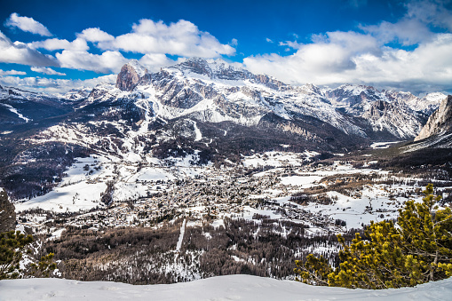 View over the mountain town of Cortina d'Ampezzo, Italy