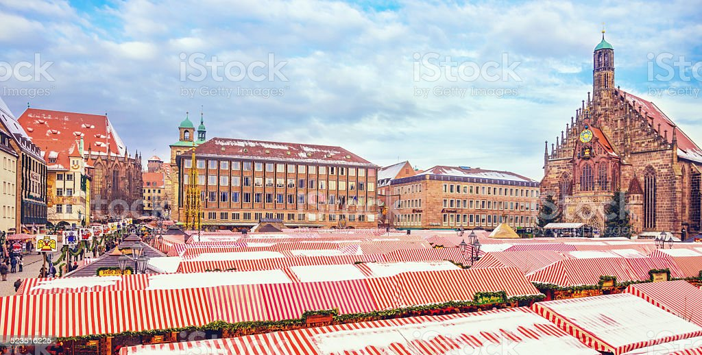 View over the Nürnberger Christmas Market and Altmark stock photo