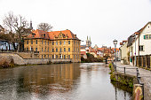 Bamberg, Germany, 20.12.2020. View over the Pegnitz to the famous Villa Concordia and the historic old town. High quality photo