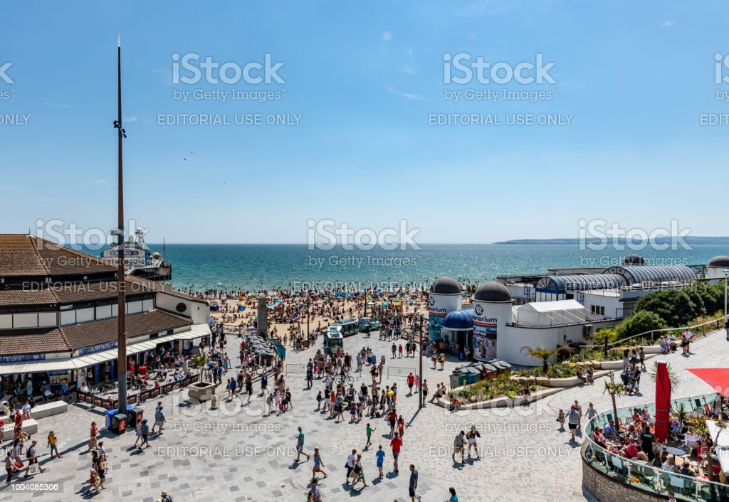 View over the pier and Oceanarium to the beach in Bournemouth, UK stock photo