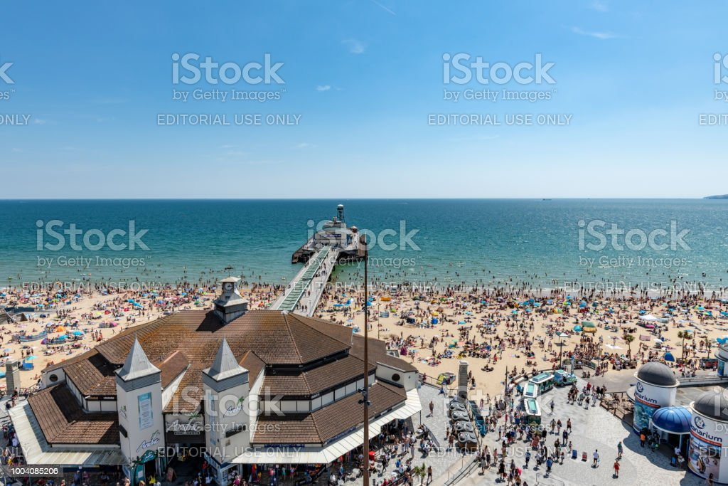 View over the pier to the beach in Bournemouth, UK stock photo