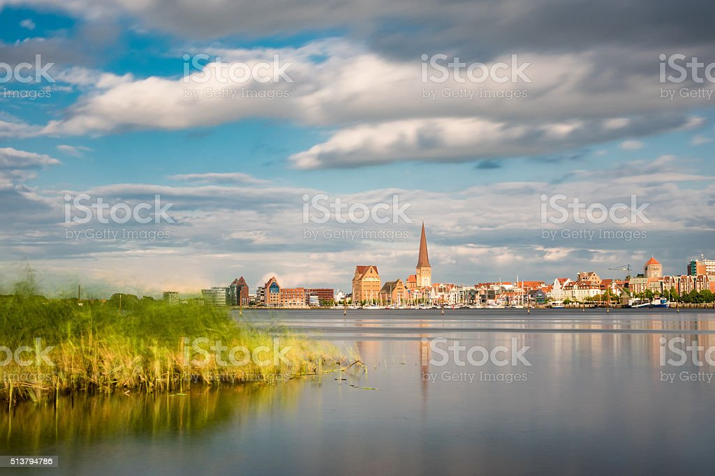 View over the river Warnow to Rostock stock photo