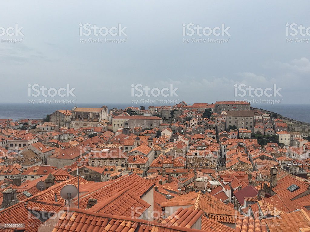 View over the roof tops of the city of Dubrovnik, Croatia stock photo