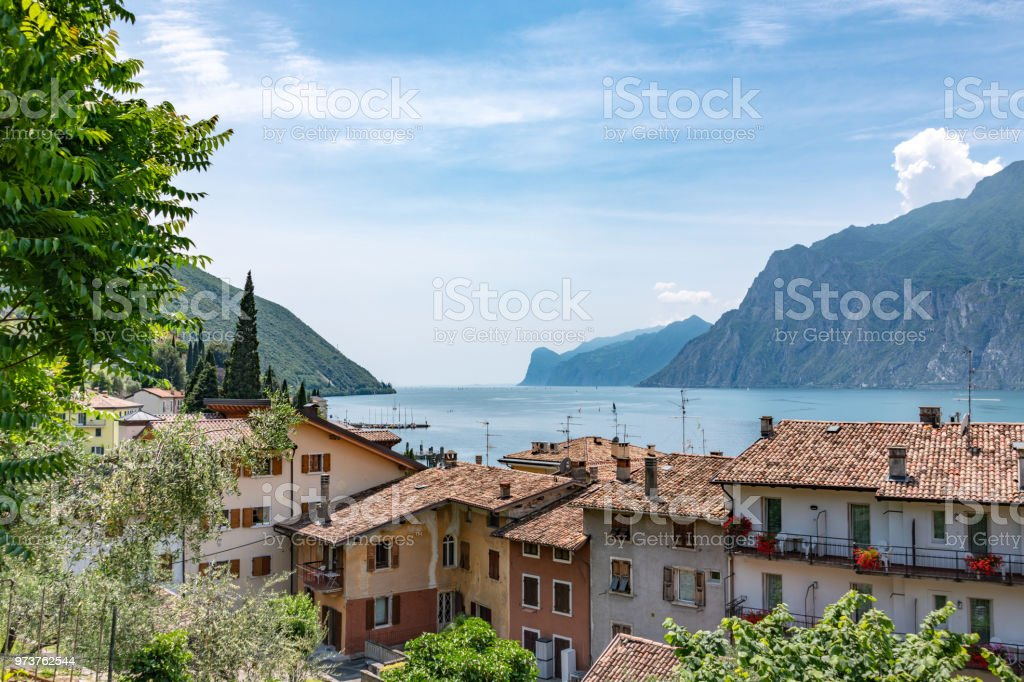 View over the roofs of Torbole in Lake Garda, Italy stock photo