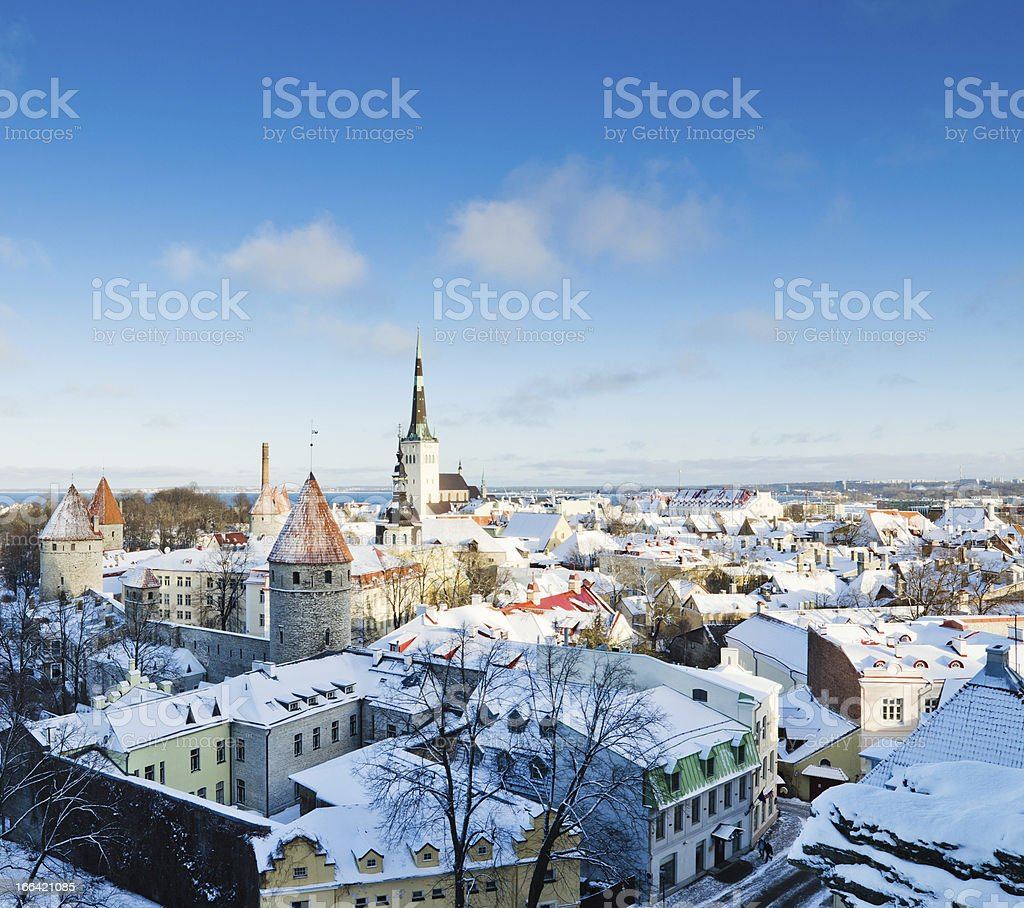 view over the rooftops of old Tallinn frosty morning royalty-free stock photo