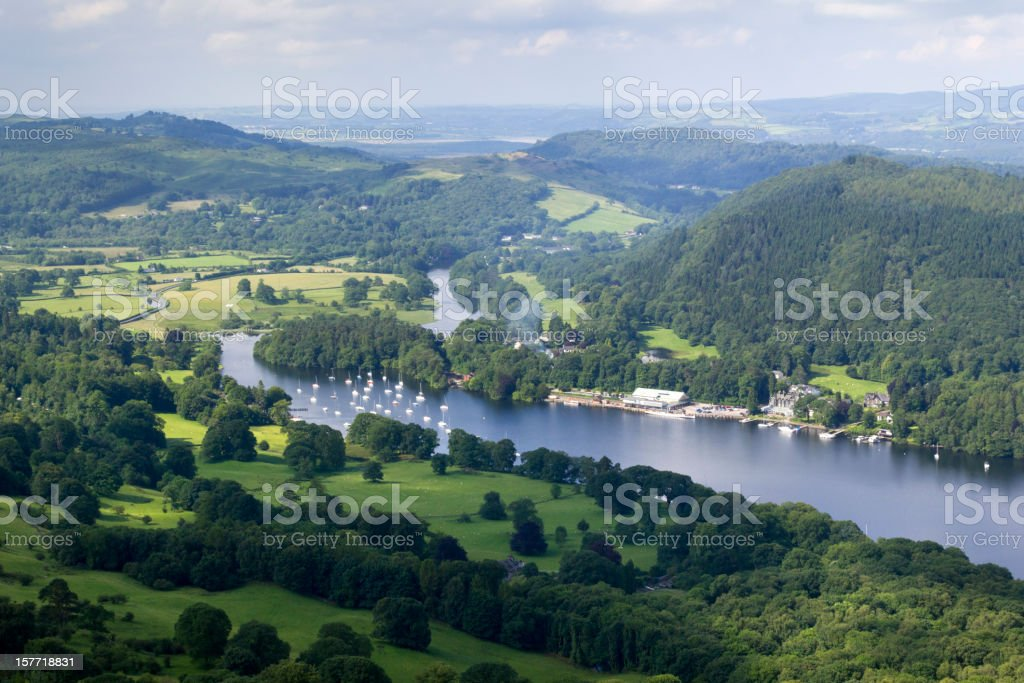 View over the southern end of Lake Windermere, Cumbria, UK stock photo