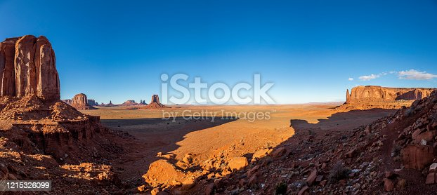 View over the spectacular stone towers of Monument Valley in Utah