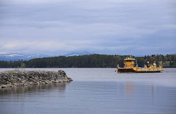 view over the swedish lake storsjoen with ferry - ferry lake sweden bildbanksfoton och bilder