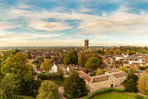 View over the town of Warwick with church stock photo