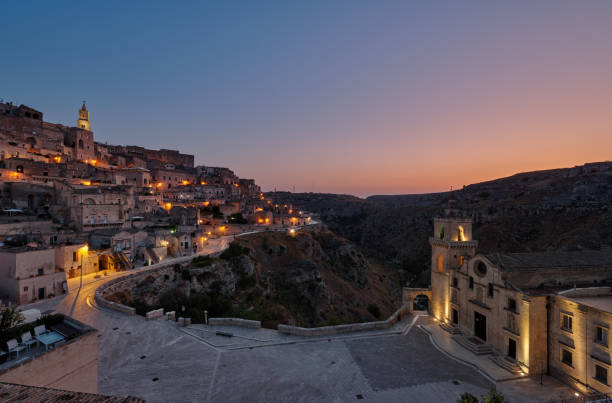 View over the town with Madonna de Idris church and Duomo cathedral , Sassi Di matera stock photo