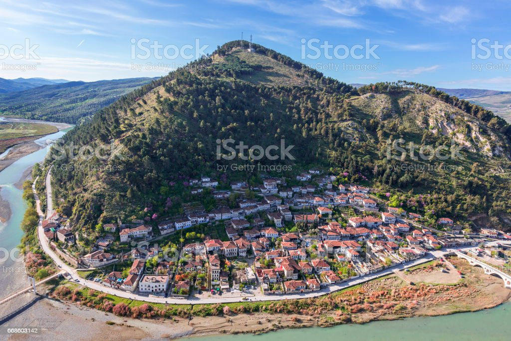 View over the traditional style, oriental houses in Berat, Albania. – zdjęcie