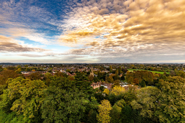 View over the treelined town of Warwick stock photo