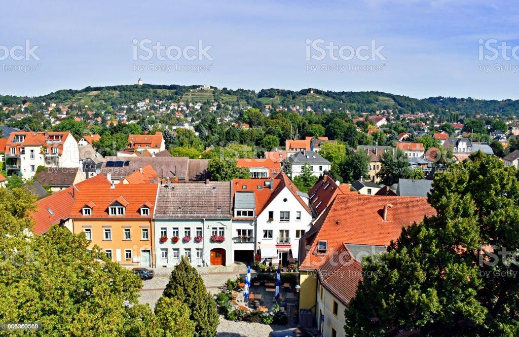 View over the village Altkotzschenbroda in Saxony, Germany stock photo