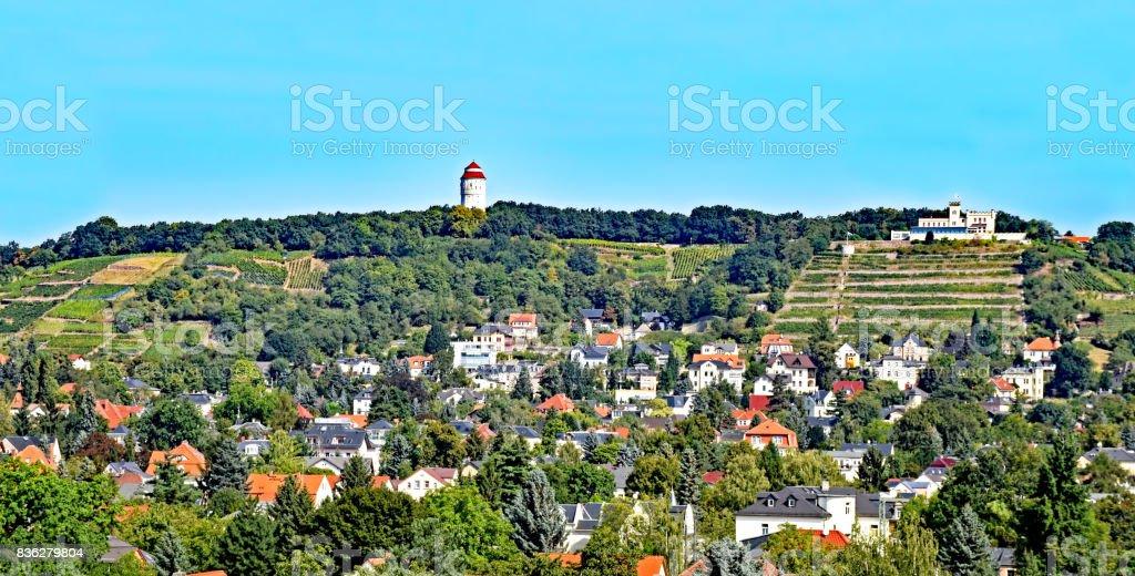 View over the village Altkötzschenbroda in Saxony, Germany stock photo