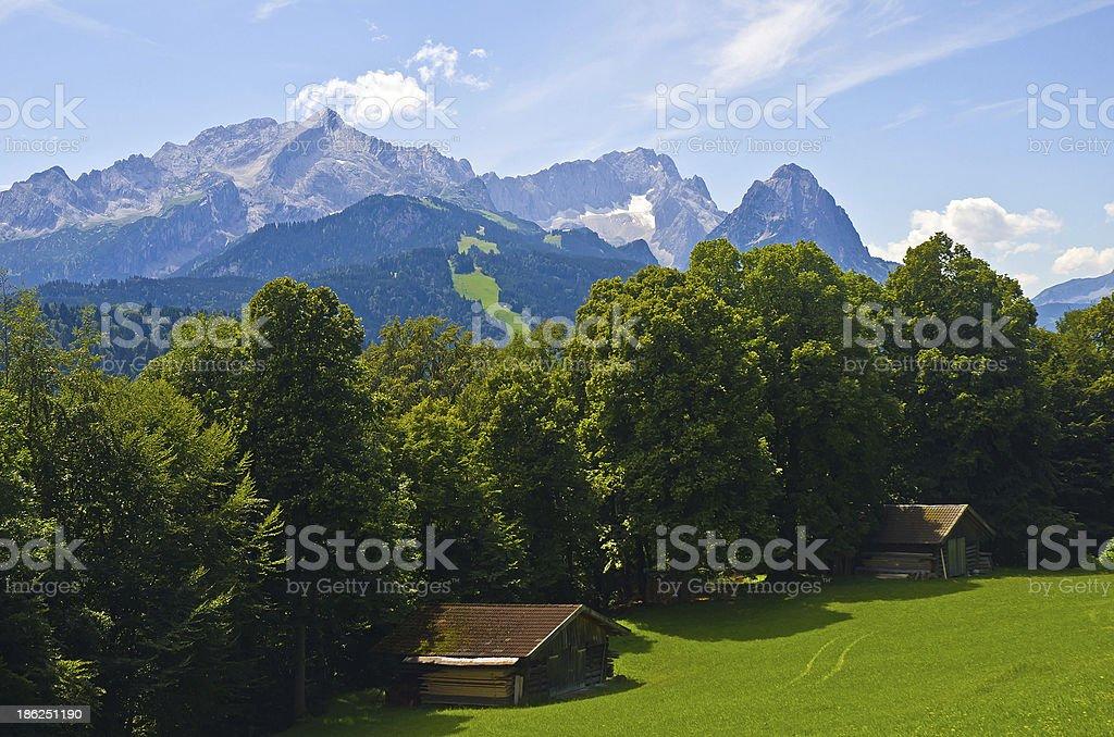 Blick über das Wettersteingebirge stock photo
