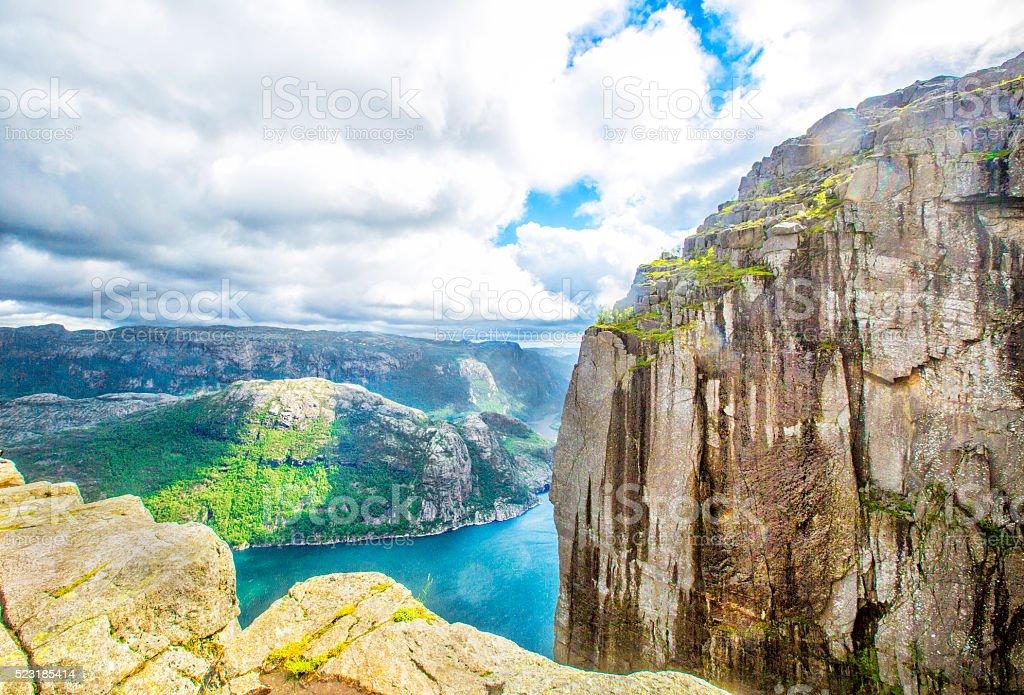 View over the world famous Preikestolen stock photo