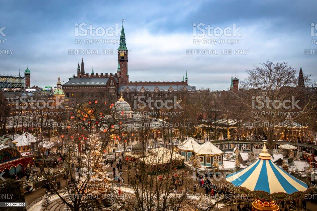 View over Tivoli park and Copenhagen city centre at Christmas stock photo