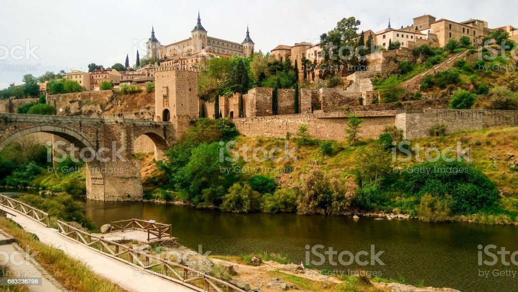 View over Toledo from the river royalty-free 스톡 사진