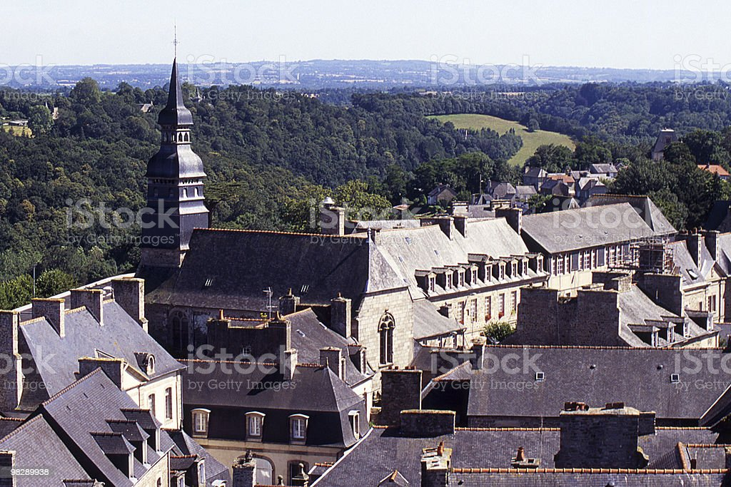 View over town and country at Dinan, Brittany, France royalty-free stock photo